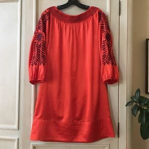 ivy jane Dresses - Ivy Jane Red Satin Embroidered Dress/Tunic size M